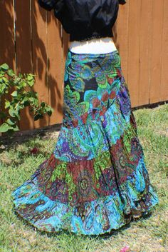 Blue, green, red, fuchsia, brown, turquoise, black and purple long tiered crinkle wrap skirt