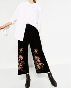 Image 2 of EMBROIDERED VELVET CULOTTES from Zara