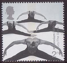 British Stamp 2000 2nd, Acrobatic Performers (Milennium Dome) from Millennium Projects (10th Series). 'Body and Bone' (2000)