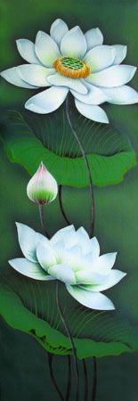 Bali Painting | Flowers Paintings - Lotus white flowers