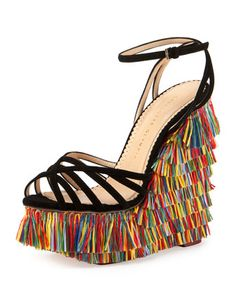 Fiesta Meredith Fringe Wedge, Multi by Charlotte Olympia at Neiman Marcus. Now THAT is a vacation shoe!!!!