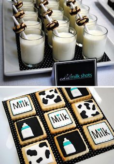 Milk & cookies party!  (Amazing blog full of baby shower and party ideas.)