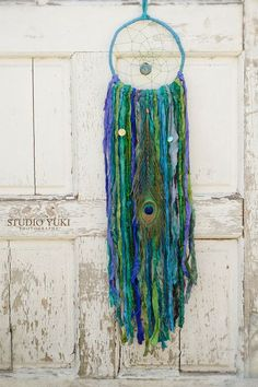 Bohemian Gypsy Dreamcatcher, Blue, Indigo, Cobalt, Green, Emerald, Fair Trade, Sari Silk, Wall Hanging, Boho Home Decor, Native, Ethnic Gift by Studio Yuki