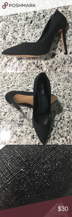 """NWOT Charles by Charles David Black Gloss Linen Gorgeous 4"""" Charles by Charles David pumps.  The fabric is very unique....it's a linen design, but shiny like patent leather.  A foot injury prevents me from wearing them, but they'll be adorable on you!  ❤️ Charles David Shoes Heels"""