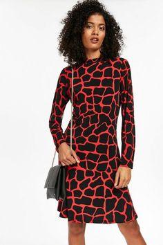 Red Giraffe Print Fit and Flare Dress - Dresses- Wallis Latest Fashion Dresses, Latest Dress, Black Sock Boots, Office Dress Code, Giraffe Print, Buy Shoes, Dress Codes, Fit And Flare, High Neck Dress
