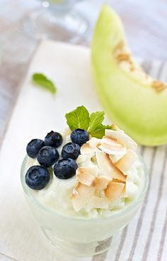 Honeydew Sherbet-Ice Milk ~ with fresh blueberries. Healthy, diet ice cream recipe.
