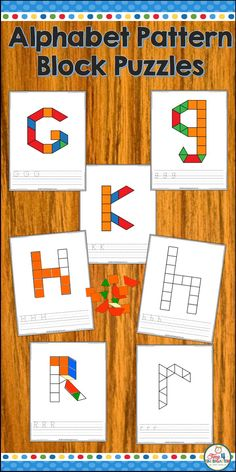 Use Alphabet Pattern blocks to learn letters and develop fine motor and handwriting skills. Your pre-school, TK and kindergarten students will love manipulating the pattern blocks to build each letter of the alphabet. Each math has an upper or lower case Kindergarten Math Games, Rhyming Activities, Kindergarten Classroom, Classroom Routines, Alphabet Letter Crafts, Alphabet Worksheets, Fine Motor, Gross Motor, Learning Letters