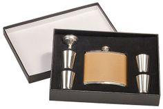 1 Personalized Laser Engraved 6 piece leather flask set groomsmen gift, wedding favor, fathers day