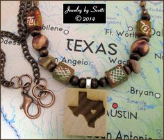 Wood Clay Agate Chain Texas Pendant Necklace by JewelryByScotti, $18.00