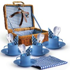 Child's Picnic Set with wicker basket