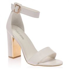 Women's High Heel Shoes & Boots - Heels, Alana White Block Heeled Sandal from Public Desire. White Block Heel Sandals, Block Heel Shoes, White Heeled Sandals, Wedding Shoes Block Heel, Dr Shoes, Shoes Heels Boots, Shoes Sandals, High Shoes, Sandal Heels