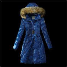 Les nouveau moncler doudoune manteau femme fourrure bleu boutique officiel