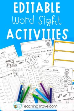 Sight word activities that are editable make it easy to create hands-on teaching resources that are differentiated to help all your young readers learn their sight words. With 38 different themes in this pack, you will have a wide range of sight word activities you can create in seconds! These fun printables are perfect for small groups and centers.  #sightwordpractice #sightwords #sightwordactivities