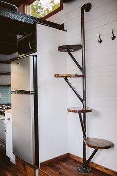 38 Clever Loft Stair Design for Tiny House Ideas - Insidexte.- 38 Clever Loft Stair Design for Tiny House Ideas - Tiny House Stairs, Tiny House Loft, Loft Stairs, Tiny House Living, Tiny House Plans, Tiny House Design, Tiny House On Wheels, Mezzanine Loft, Tiny Loft
