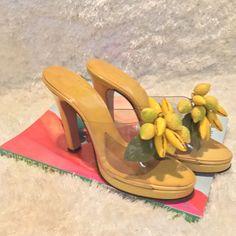 Rare Vintage 70s Platform Heels KIMEL California Yellow Lemons Clear Collectors #KIMEL #Mules