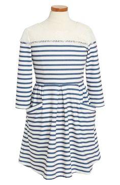 Ten Sixty Sherman Lace Trim Stripe Skater Dress (Big Girls) available at #Nordstrom