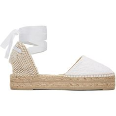 Manebí White Macrame Paris Espadrilles (195 CAD) ❤ liked on Polyvore featuring shoes, sandals, flats, white, white braided sandals, white espadrilles, crochet sandals, platform shoes and braided sandals