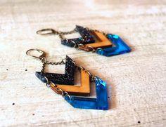 Chevron Trio Earrings with wood and acrylic. $42.00, via Etsy. #scarlettgarnet