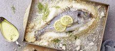 Τσιπούρα σε κρούστα αλατιού Hummus, Camembert Cheese, Ethnic Recipes, Food, Essen, Meals, Yemek, Eten