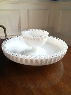 ON SALE (Was 89.00) Fenton Milk Glass Silver Crest Chip and Dip Server.