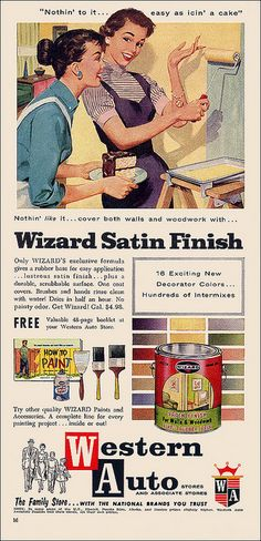It's easy as icin' a cake! 1957 Western Auto Wizard Paint Ad