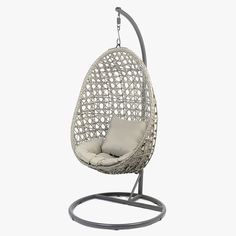 Hanging Chair Inside Egg Chair Rattan Seat on Outdoor Foot Garden Loveuse Resin Woven Cocoon Hammock Tubes Seat and Cushions 195 x 95 x 95 cm Grey Cushions, Seat Cushions, Rattan, Wicker, Grey Chair, Egg Chair, Sofa Design, Hanging Chair, Grey