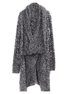 Love! Love! Love the wide Collar on this Sweater! Gray Long Sleeve Knitwear Knit Sweater Coat | Choies #Grey #Knit #Sweater #Coat #Fall #Fashion #Trends