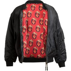 ABRAHAMSSON Reversible Biggie Printed Bomber Jacket (335 AUD) ❤ liked on Polyvore featuring outerwear, jackets, tops, coats & jackets, red jacket, flight jacket, reversible jacket, bomber jacket and red flight jacket