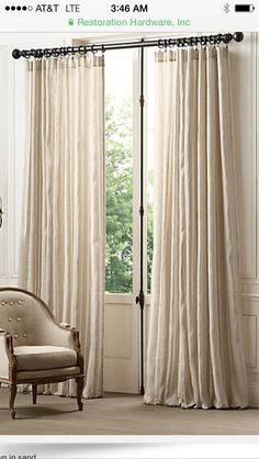 Rh tonal sheer stripe drapery available in white sand for Restoration hardware silk curtains