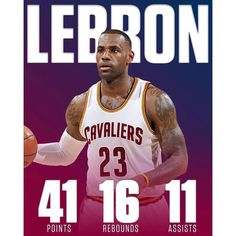 The King recorded his 53rd career triple double with 41 points 16 rebounds & 11 assists in the Cavs 135-130 victory over the Pacers. #repre23nt
