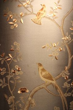 Custom made Chinoiserie handpainted wallpaper with partial hand embroidery: custom size available Gracie Wallpaper, Silk Wallpaper, Hand Painted Wallpaper, Flowery Wallpaper, Chinoiserie Wallpaper, Room Wallpaper, Stairway Walls, Orchid Care, Hand Embroidery