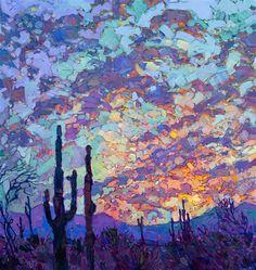Detail of Saguaro Dusk, by Erin Hanson.