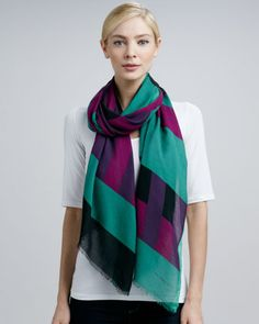 Striped-Print Scarf, Green/Purple by Burberry at Neiman Marcus. I have it and I'm telling you this pic doesn't do it justice, the colors and movement are beautiful.