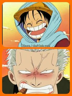 Y'know, I don't hate you!, funny, text, quote, Luffy, Smoker, blushing, comic, One Piece; Photo Collages