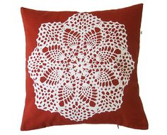 Granny Pillow  Doily Hand screenprinted Cushion  Insert by olula, $25.00