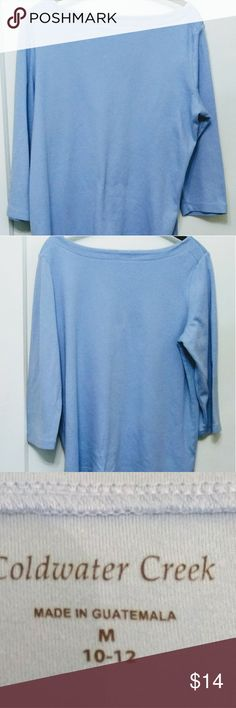 """Coldwater Creek Blue Boatneck Tee This CWC top is a light blue 100% cotton knit. It has a boat neck. It has 3/4 sleeves. Care: machine wash cold, tumble dry low, cool iron. Measurements: shoulder to shoulder 15 1/2"""", armpit to armpit, 21 1/4"""",  length 22"""", sleeve shoulder to sleeve end 18"""". Great with jeans or white capris. Coldwater Creek Tops Tees - Long Sleeve"""