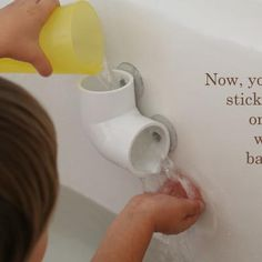 Hardware Store Bath Toy: Elbow pipe and suction cups - hours of bathtub fun! @Ramie Reeves-Geise