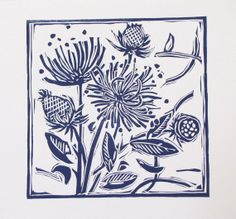 Lino Cut  Print in midnight blue English Country by linenprints