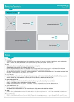 Another wireframe-style persona, with a section for text notes. Web Design, Design Basics, Graphic Design Layouts, Experience Map, User Experience Design, Customer Experience, Personas Design, Buyer Persona, Behavioral Psychology