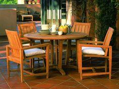 "Kingsley Bate Amalfi 50"" Dining Table and Amalfi Dining Arm Chair"