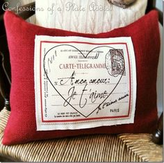 Pottery-Barn-inspired French Valentine Pillow / Excellent tutorial, complete with printable graphic