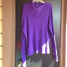 Turtleneck sweater Purple sweater with button on neck line and cuffs Worthington Sweaters Cowl & Turtlenecks