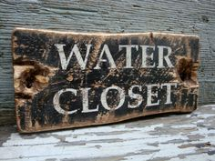 Rustic Distressed Water Closet Wood Bathroom Industrial Wood Sign by TheUnpolishedBarn,