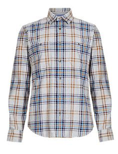 Antique Gold 2in Longer Pure Cotton Tailored Fit Melange Laundered Checked Shirt