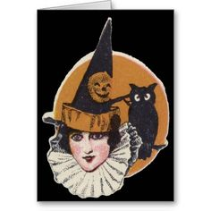 Art Deco Witch Jack O Lantern Pumpkin Owl Greeting Cards