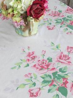 Vintage Pink Roses Printed Tablecloth Romantic Cottage Bridal | eBay Vintageblessings