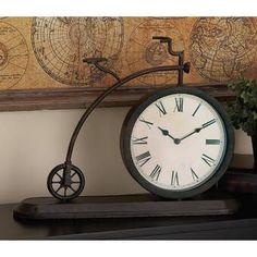 Fleur De Lis Living Bicycle Table Clock | Wayfair Bicycle Clock, Metal Clock, Iron Table, Tractor Supplies, Wall Spaces, Black Metal, Decorative Pillows, Vintage, Color Black