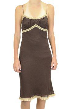 4 Moda International Brown Silk Chiffon Slip Dress Beige Lace Ribbon Empire Trim #ModaInternational #EmpireWaist #Cocktail