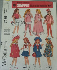 1964 Uncut McCall's Skipper Pattern Instant Wardrobe 7480 by TheBlackOnyxBoutique on Etsy