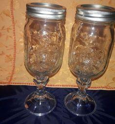 Ball Mason Jar Wine Glasses With Lids - 16 0z. #Mason